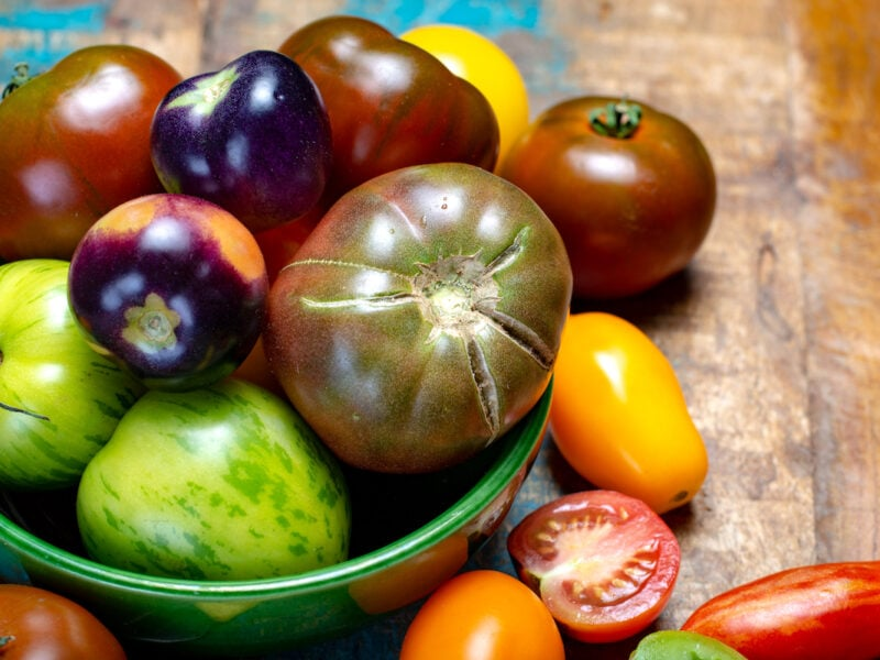 Multicolored assortment of French fresh ripe tomatoes in green bowl on blue wooden table