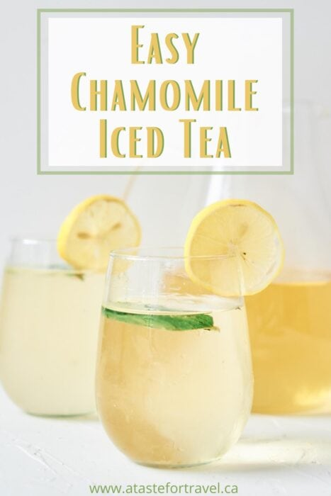 Three glasses of cold chamomile tea garnished with lemon