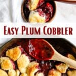 Gluten-free Plum Cobbler in a pan with Pinterest text overlay