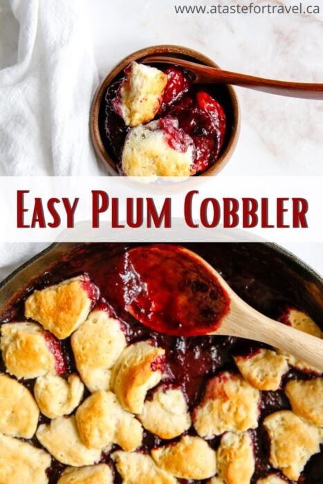 Gluten-free Plum Cobbler in a skillet with Pinterest text overlay