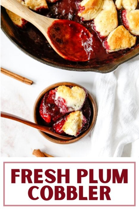 text overlay on Pinterest image for plum dessert