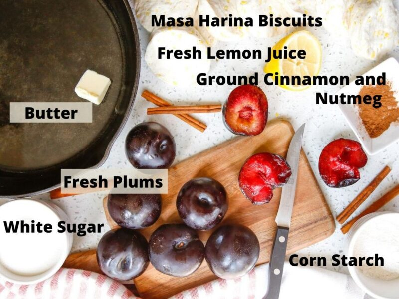 Ingredients for plum dessert with text overlap