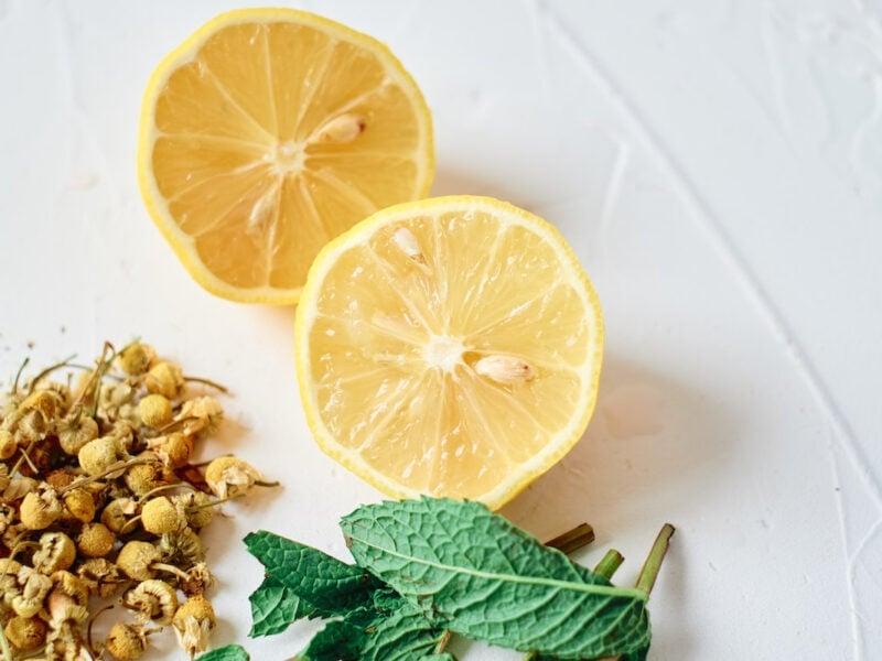 the ingredients to make chamomile tea - lemon, dried chamomile and mint