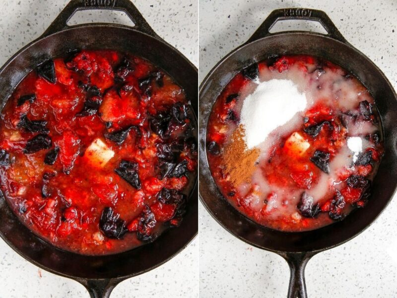 two stages of plums cooking in skillet