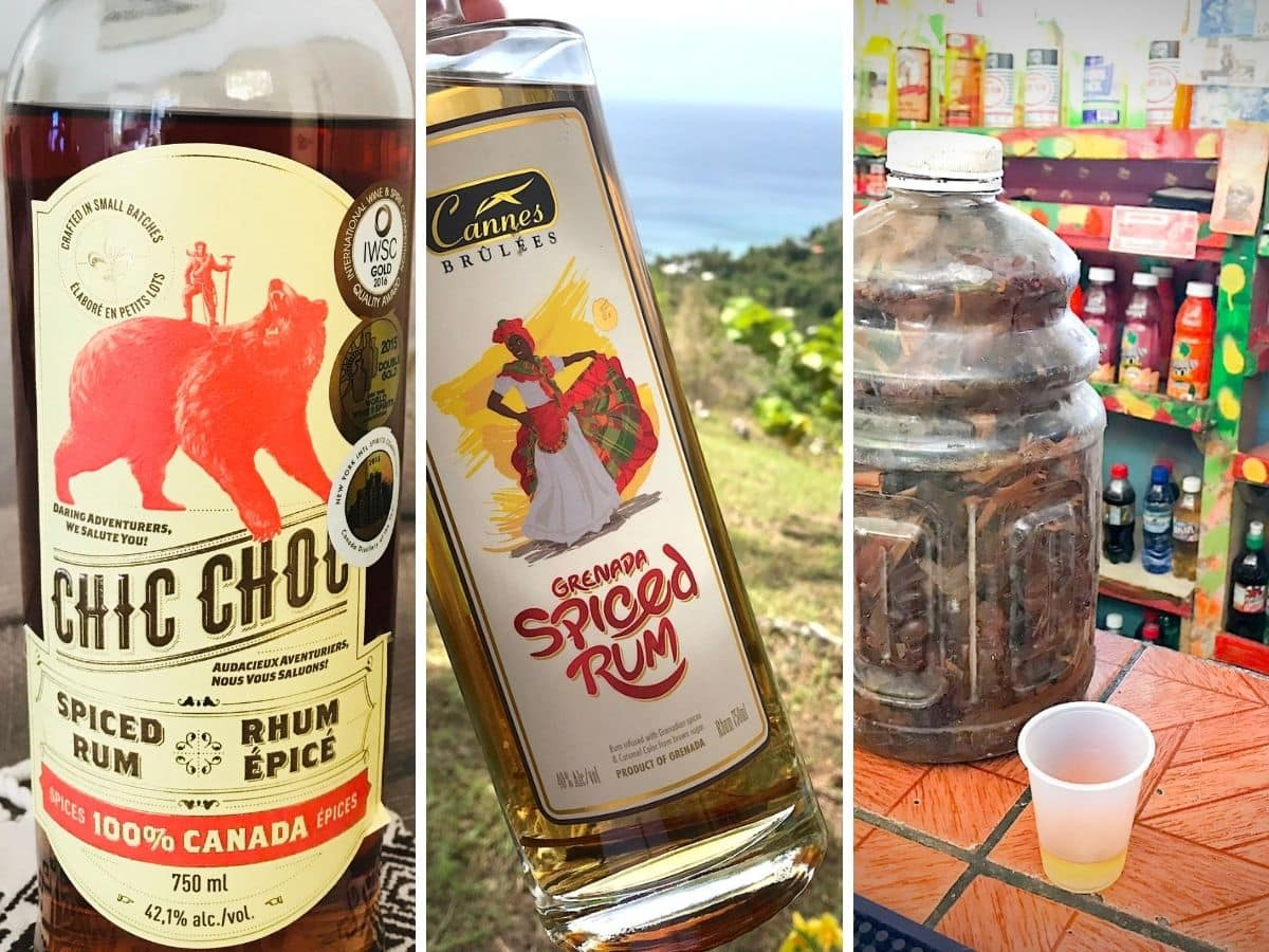 three types of spiced rum