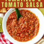 Overhead shot of freezer salsa in a white bowl with text overlap Tomatillo and Tomato Salsa