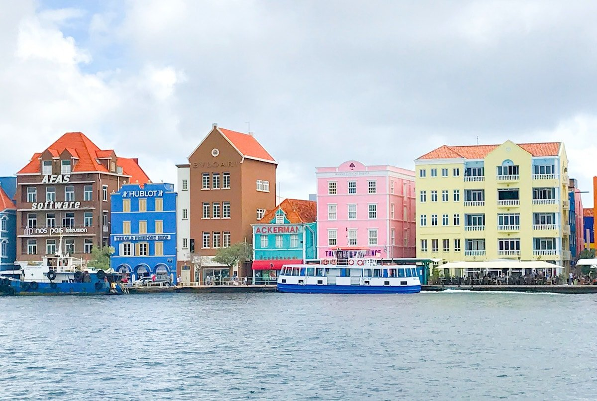 View of pastel houses in Willemstad Curacao