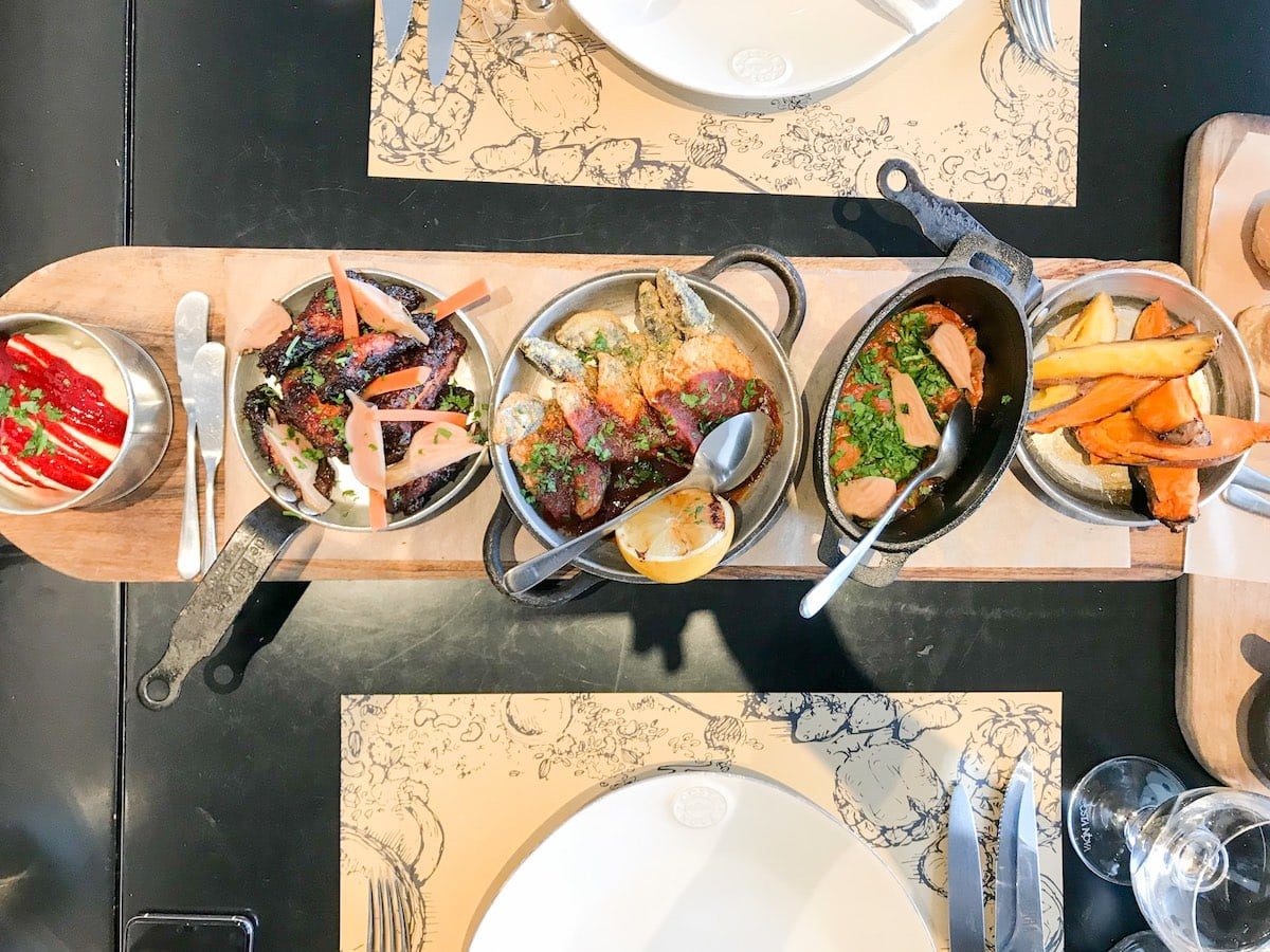 a selection of dishes of local cuisine at Azor Hotel