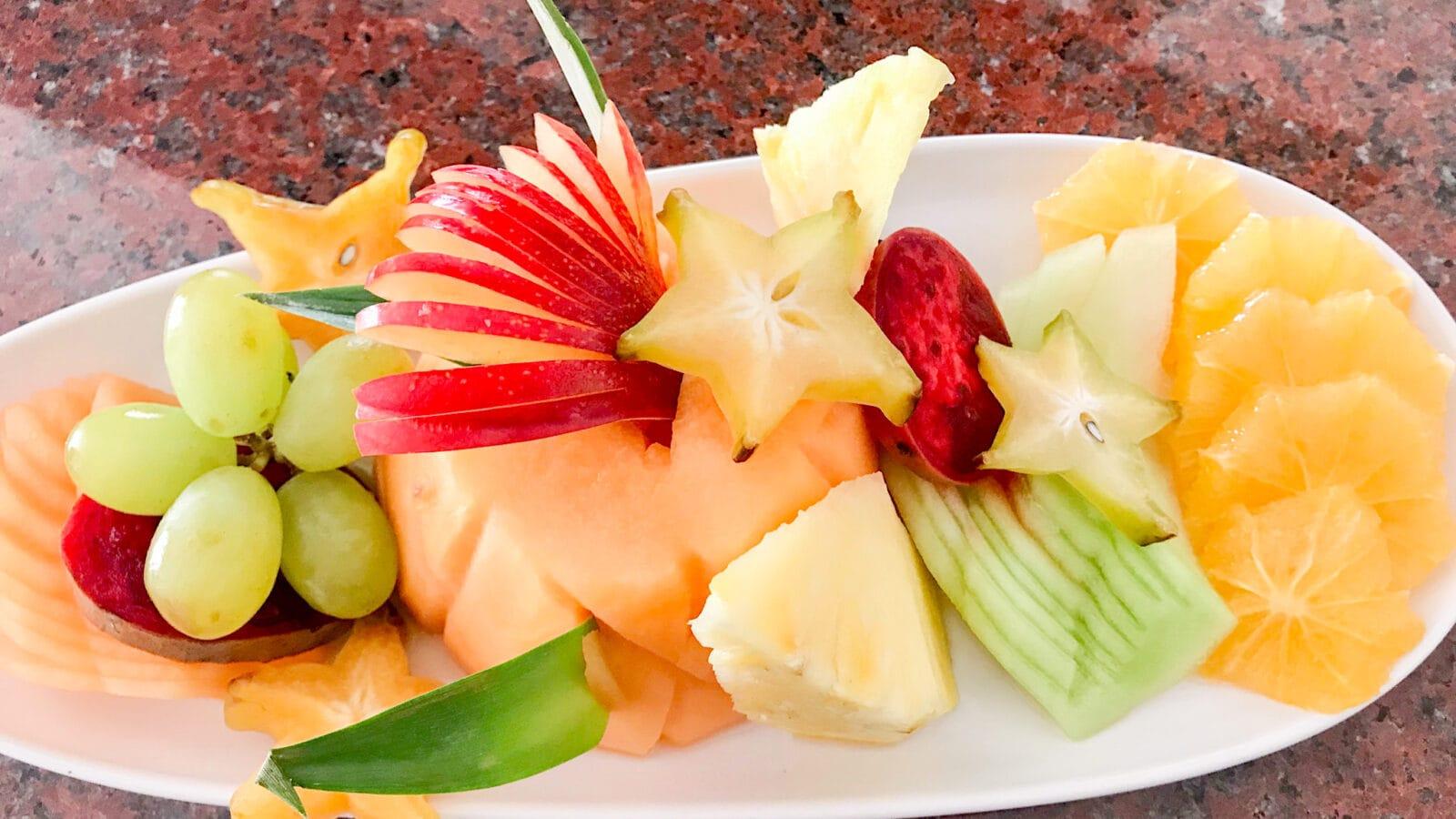 fresh fruit on a plate in Aruba.