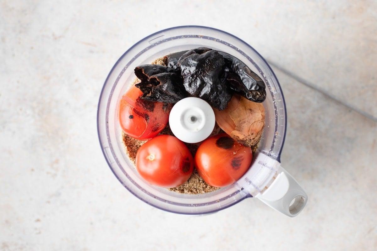 Blend vegetables in a food processor.