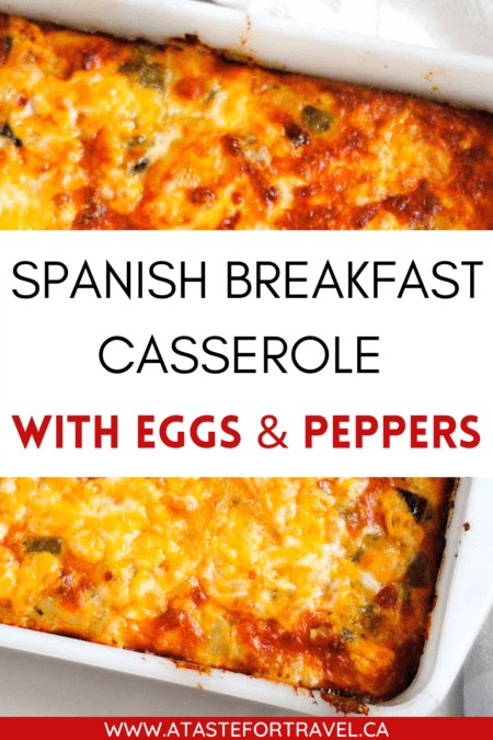 Spanish Breakfast Casserole text overlay for Pinterest.
