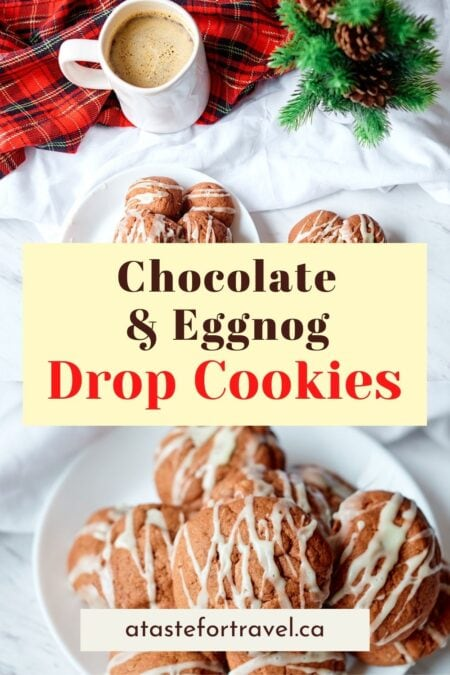 Eggnog cookies on a plate with text overlay for Pinterest. h