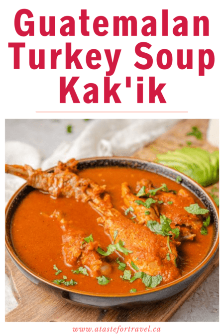 Guatemalan kakik in a bowl with text overlay for Pinterest.