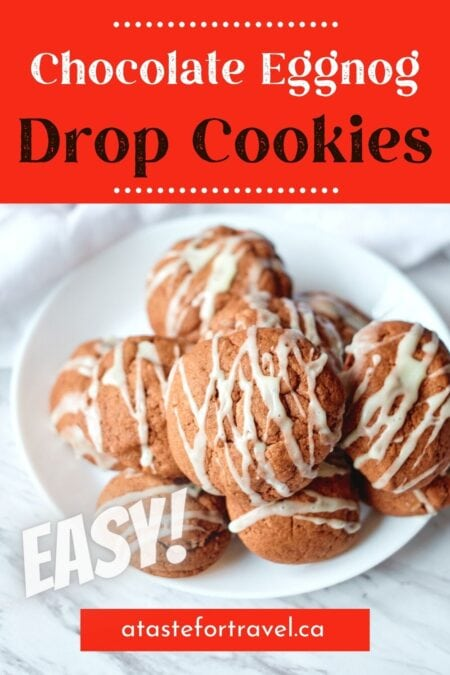 Iced chocolate drop cookies with text overlap for Pinterest.