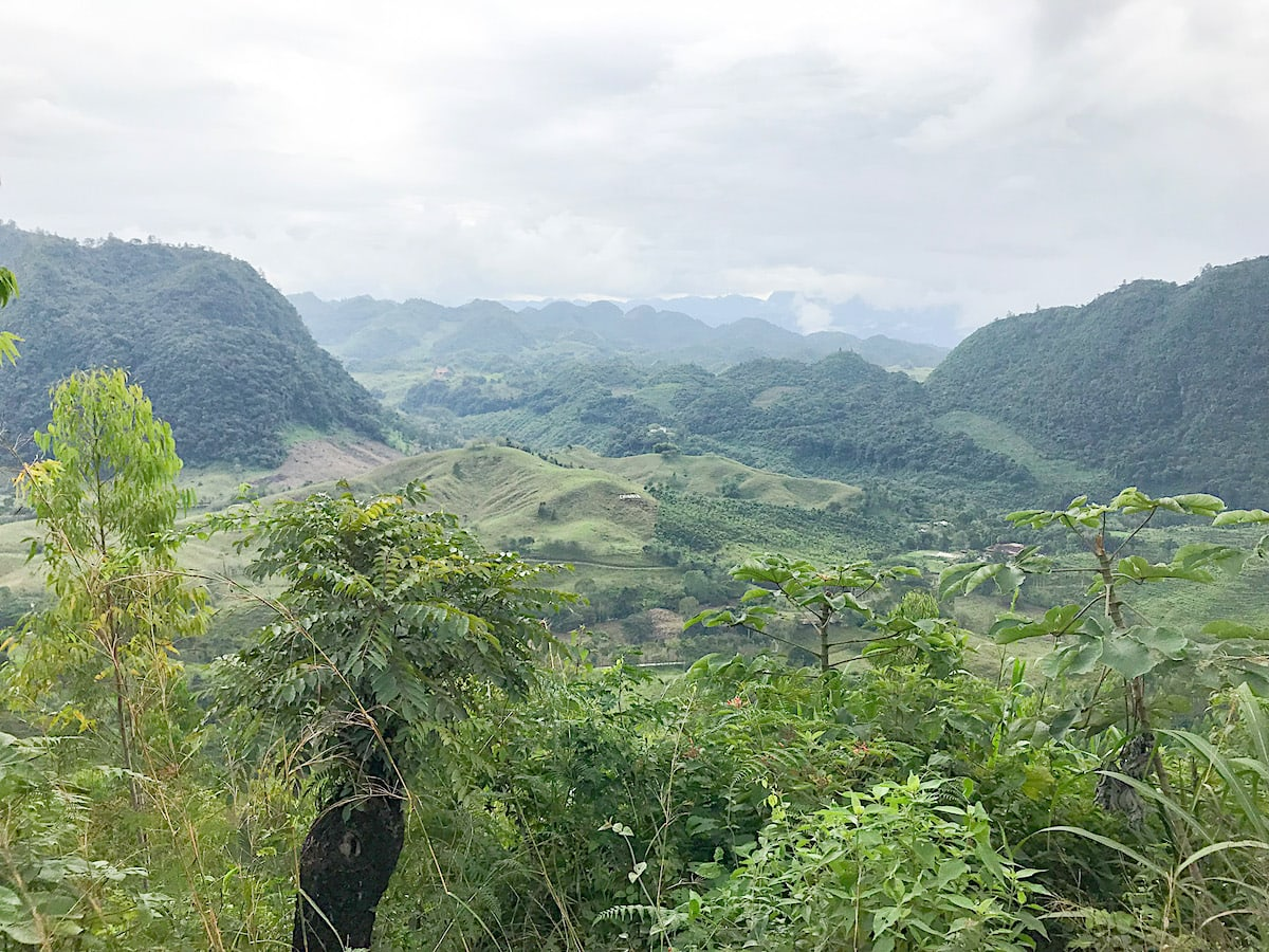 View of green valleys and mountains in Alta Verapaz, Guatemala.