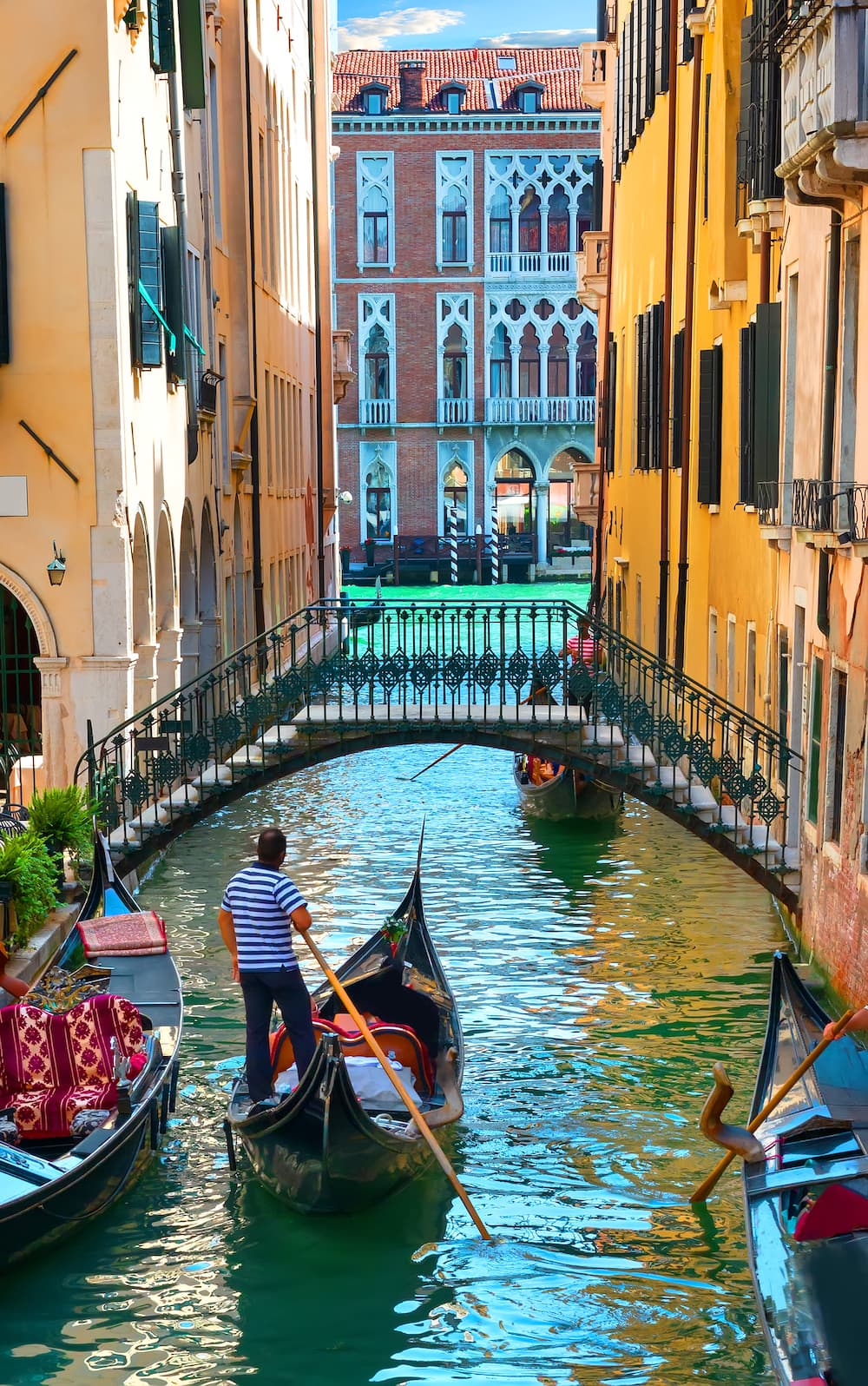 View of a gondola on a canal in Venice.
