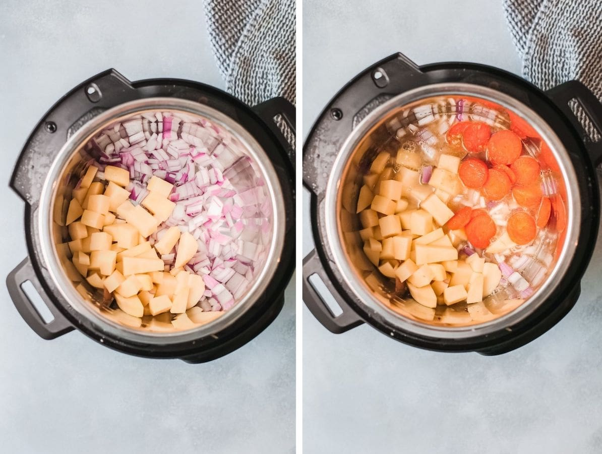 Collage of onions, potato, carrots and garlic inside an instant pot.