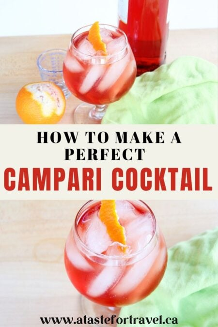 Collage of two campari cocktails with text How to make a campari cocktail.