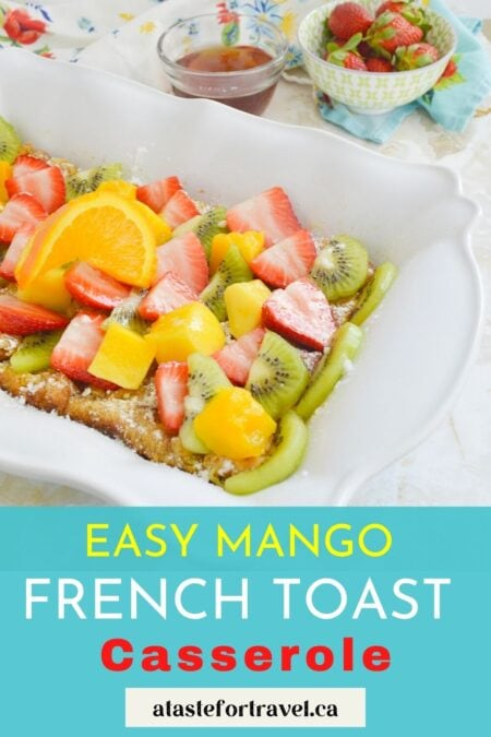 Make-ahead french Toast casserole with text overlay for Pinterest.