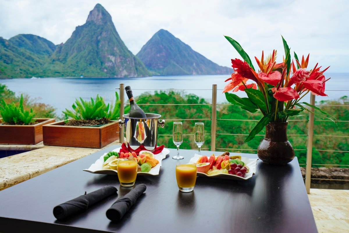 Fine dining with a view of piton mountain and sea in Saint Lucia. Credit Saint Lucia Tourism Authority