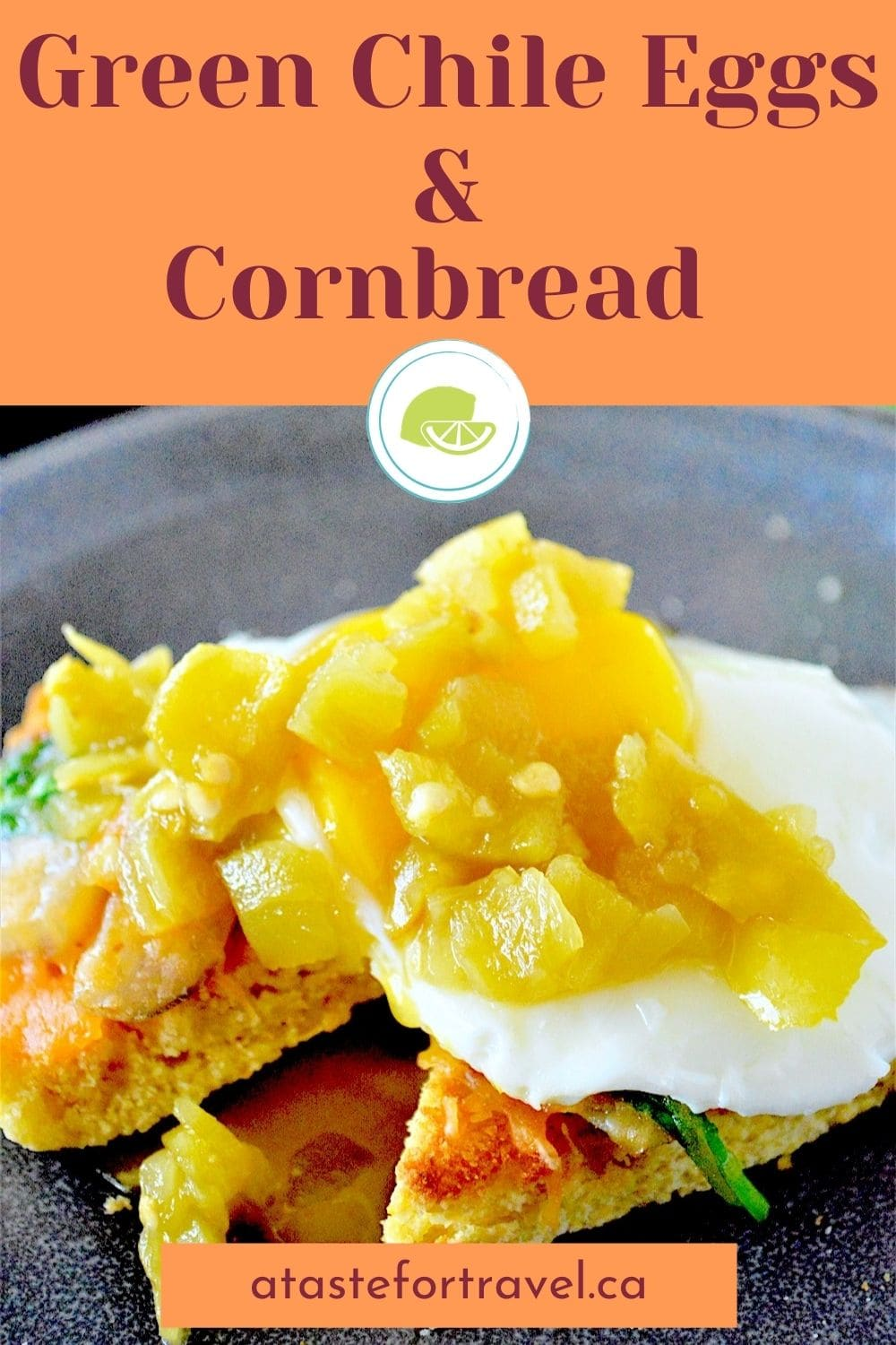 Egg topped with green chiles on cornbread with Pinterest text overlay.