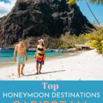 Pinterest image of couple on a beach with text overlay Best Honeymoon destinations in Caribbean.