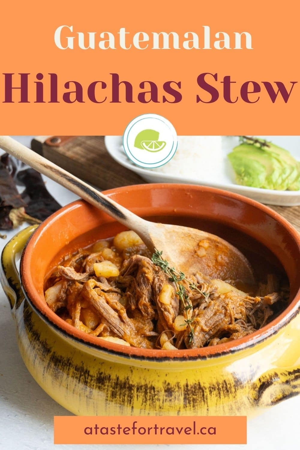 Pinterest image with text overlay for Guatemalan Hilachas Stew.