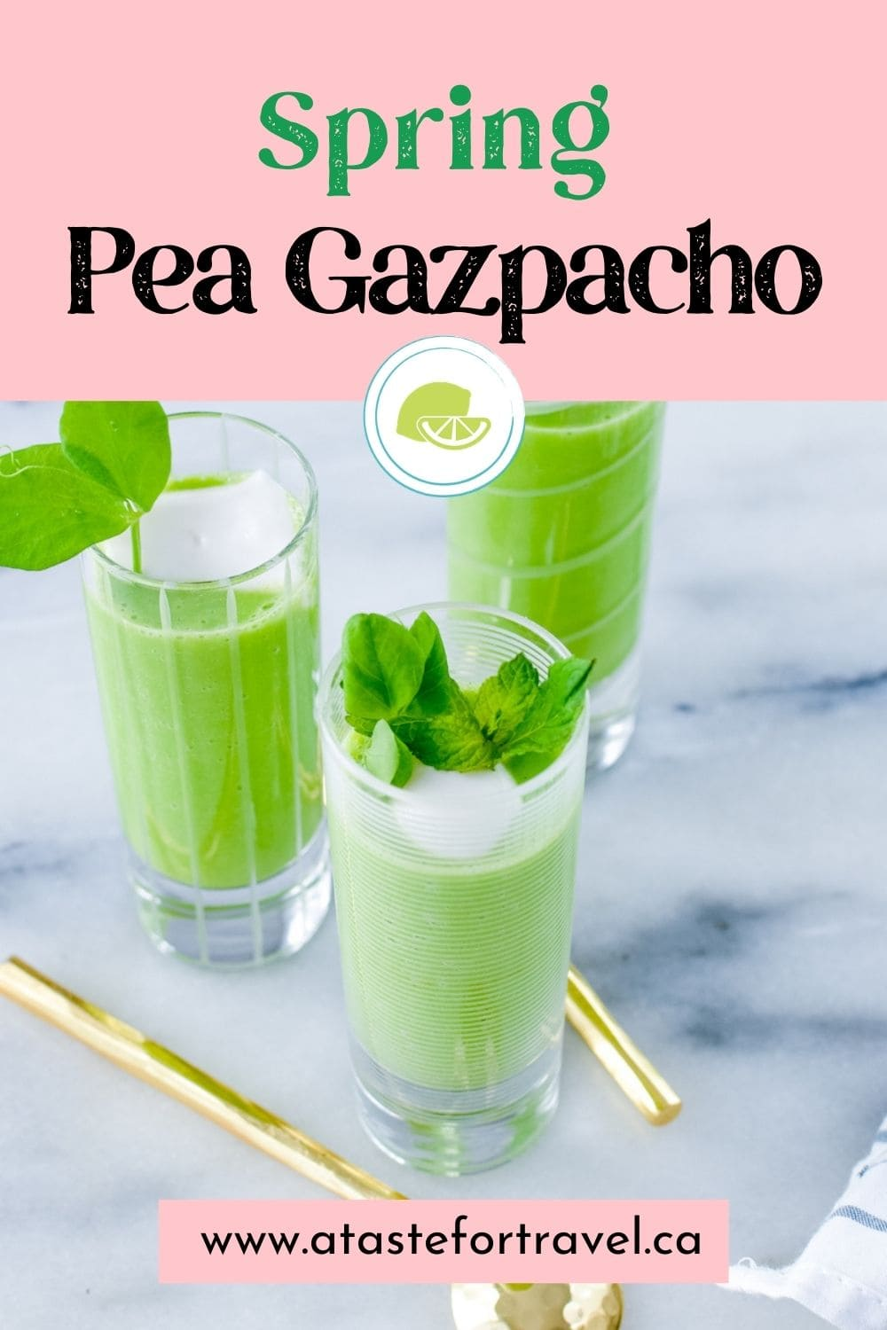 Cold Pea Soup appetizers served in shot glasses.