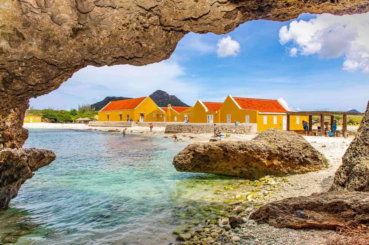 View of Boca Slagbaai, an old plantation site with spectacular clear aqua waters. (Credit Casper Douma Photography)