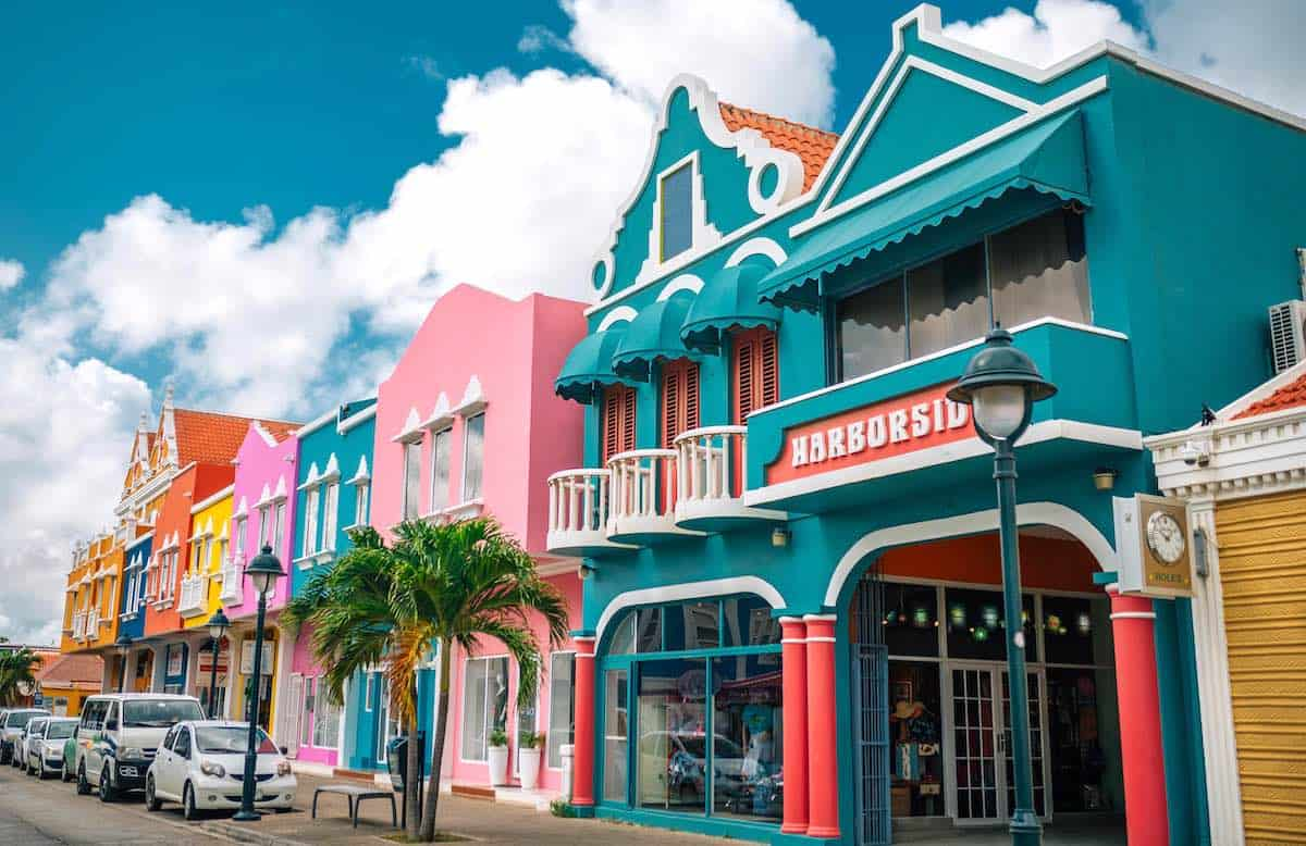 The colourful buildings of Downtown Kralendijk in Bonaire. Credit Tourism Corporation Bonaire