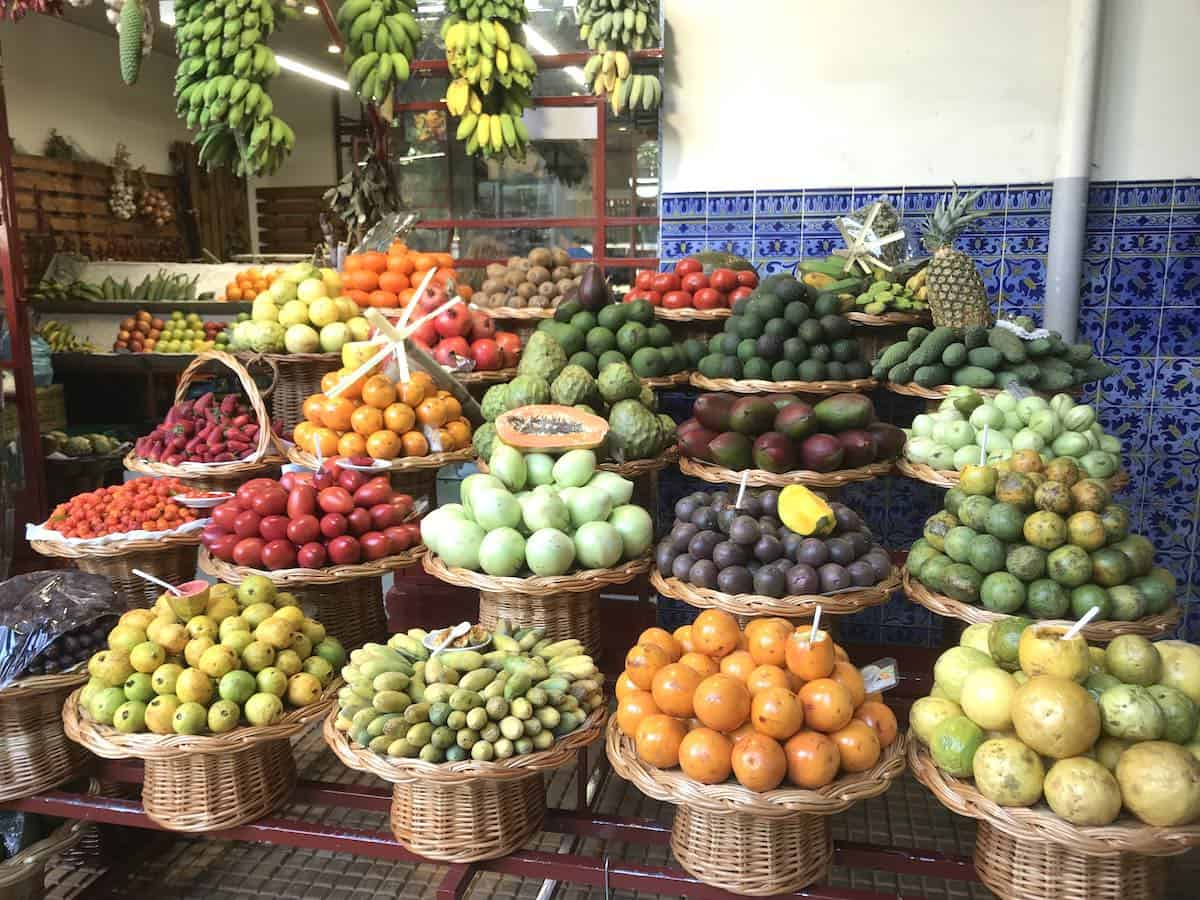 Portuguese cuisine relies on fresh produce and seafood such s this fruit market in Madeira.