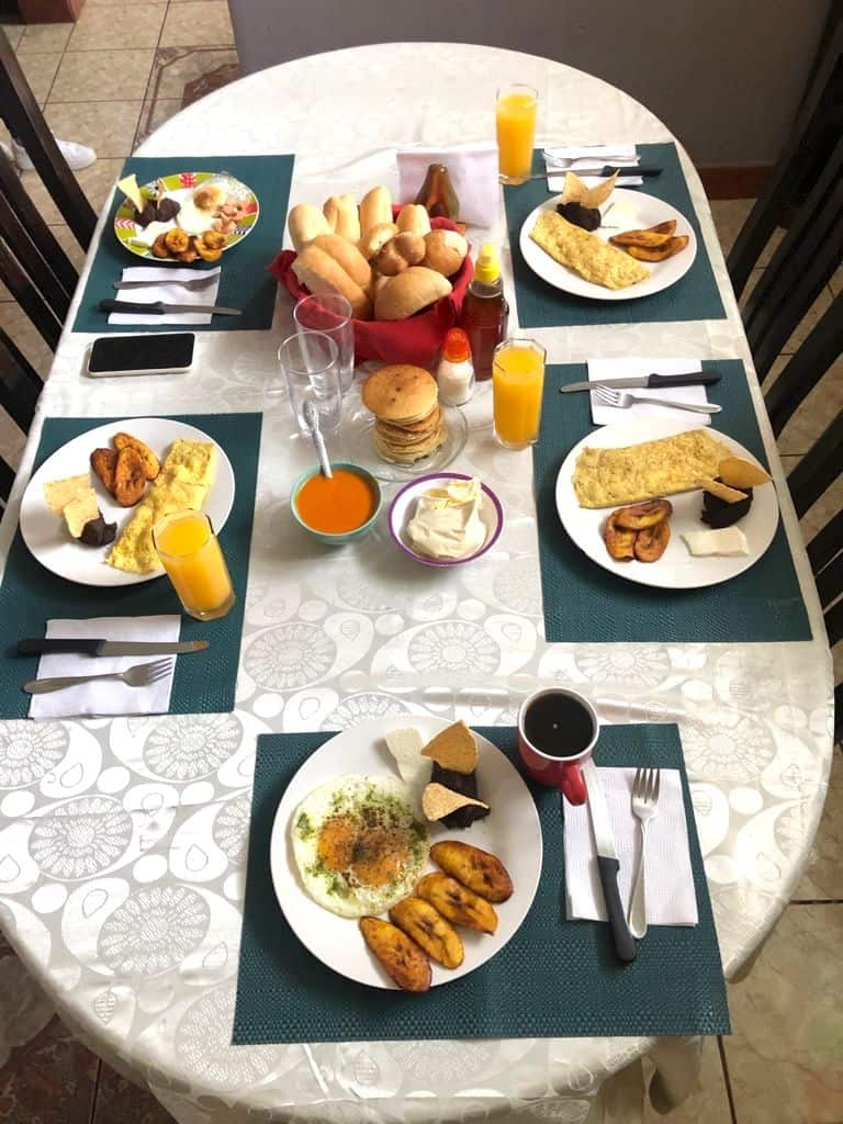 Typical Guatemalan breakfast on a white tablecloth.