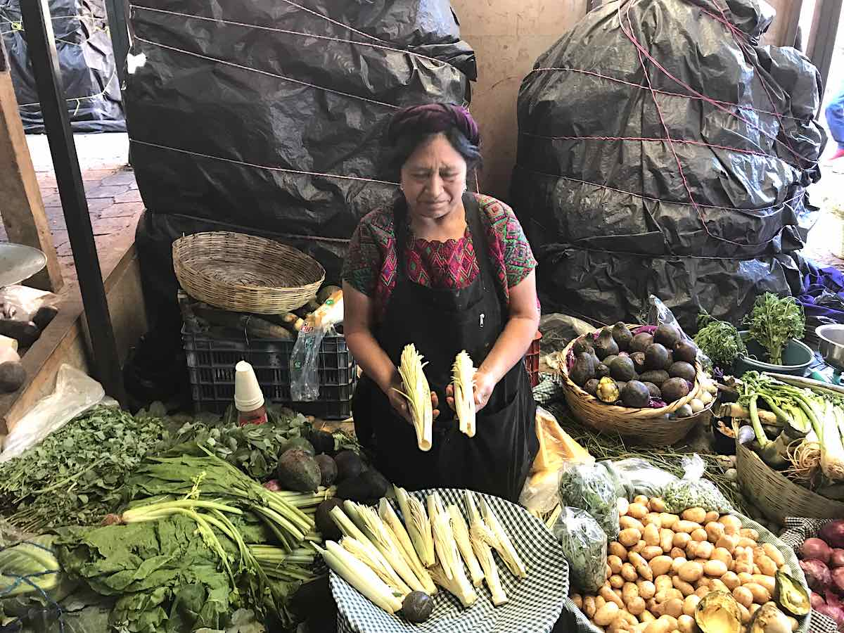 Market in Antigua with pacaya