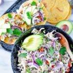 Salpicon de Pollo in a bowl and on tostadas.