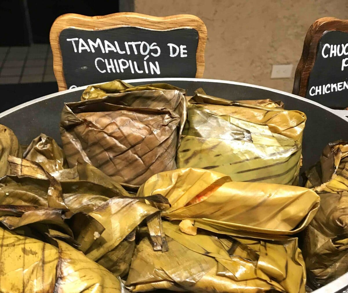 Tamalitos de Chipilin in a pot in Antigua Guatemala.