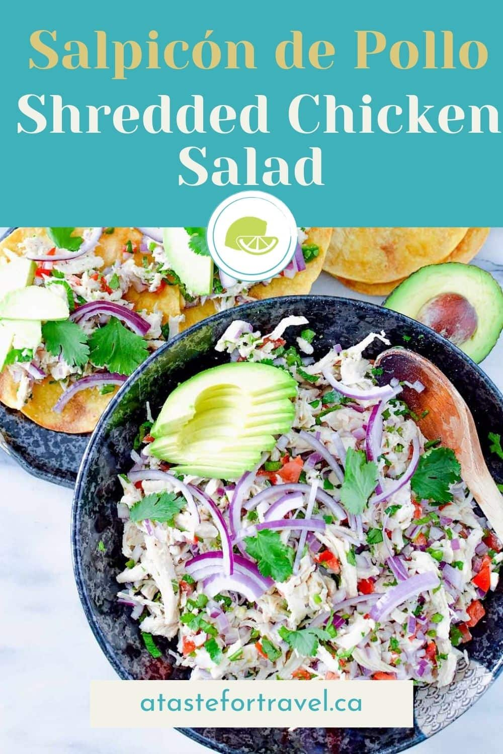 Mexican chicken salpicon in a bowl with text overlay for Pinterest.