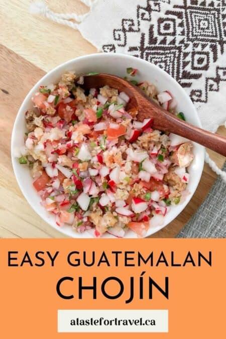 Guatemalan chojin radish salad for Pinterest.