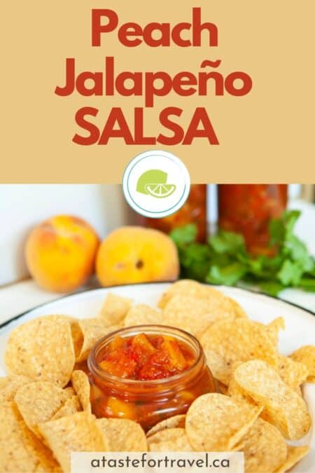 Peach salsa in a bowl with tortilla chips with text overlay of Peach Jalapeno Salsa for Pinterest.