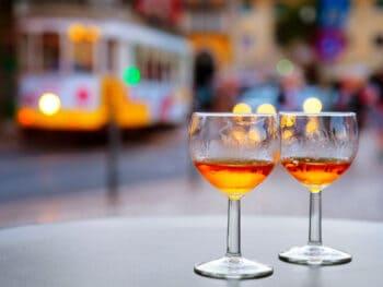 Port wine glasses at outdoor cafe of Lisbon, Portugal