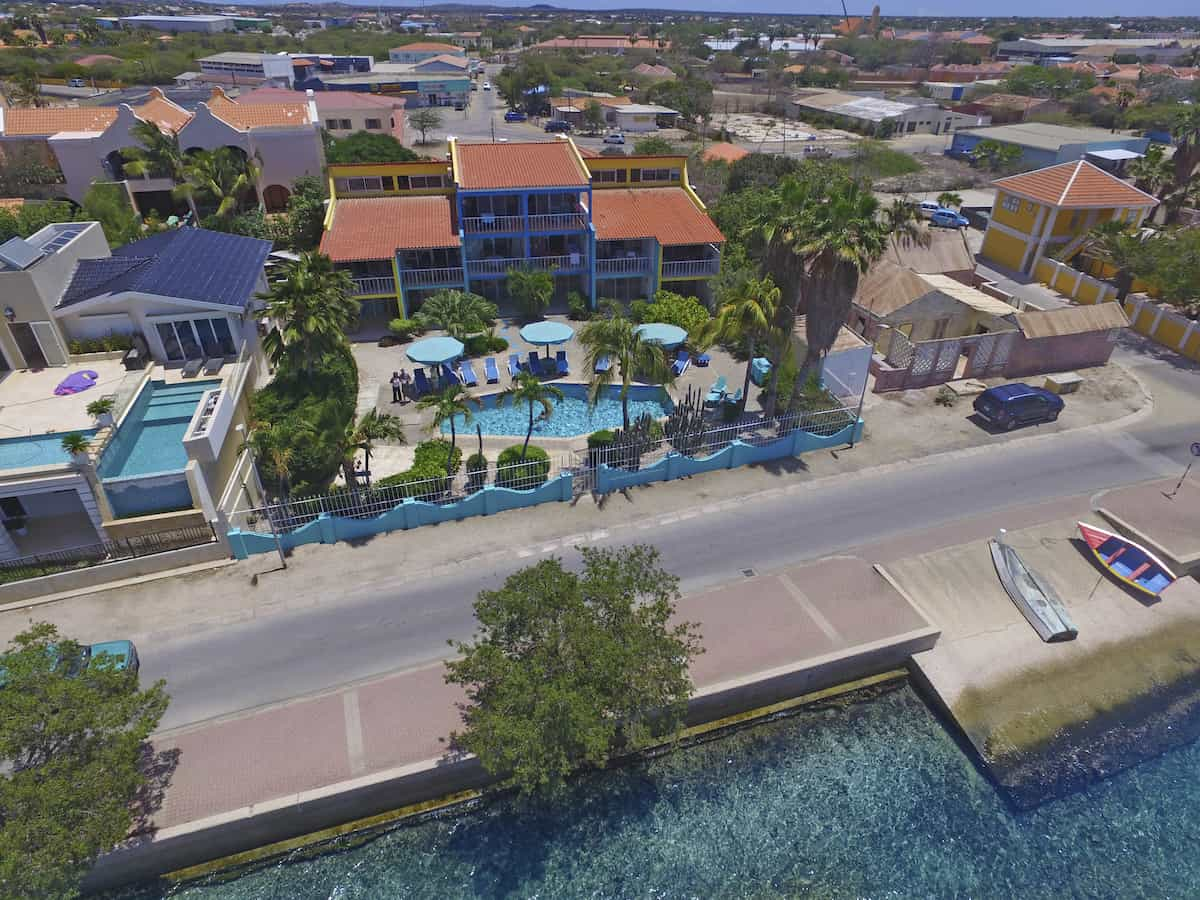 Aerial view of Bonaire Oceanfront Apartments.