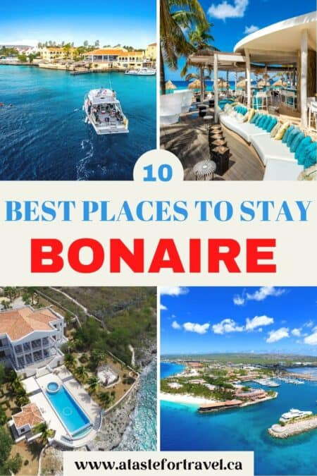 Collage of four resorts with text overlay for Pinterest of 10 Best Places to Stay on Bonaire.
