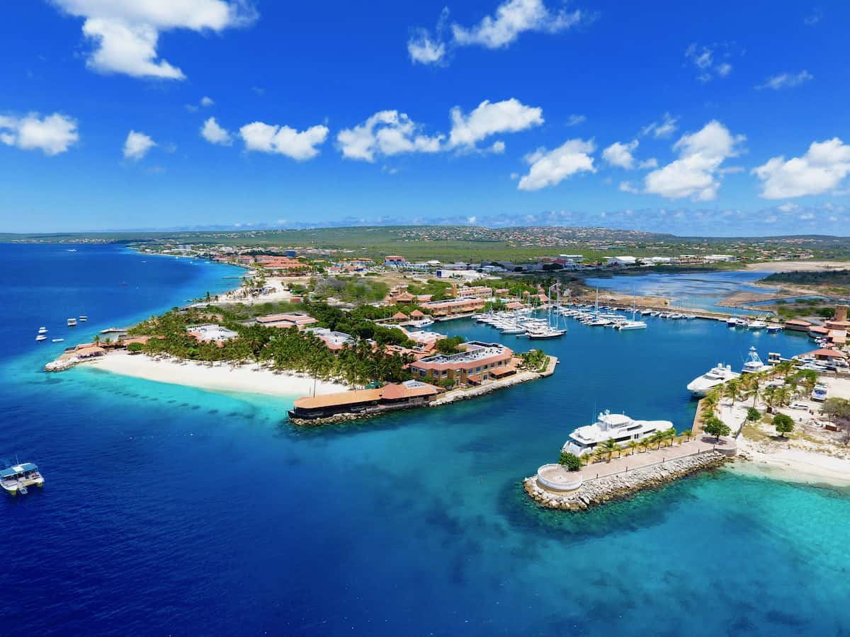 Aerial view of Harbour Village Beach Resort on the island of Bonaire.