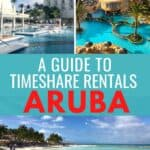 Collage of resorts and beaches in Aruba with Pinterest text overlay.