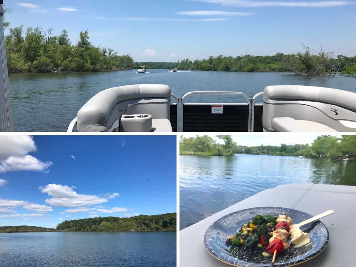 A Bennington pontoon boat on Rice Lake with food.