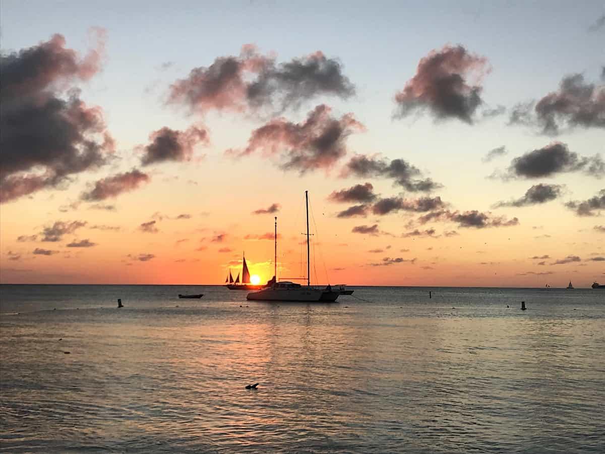 Boat at sunset at Marriott's Aruba Surf Club, Aruba.