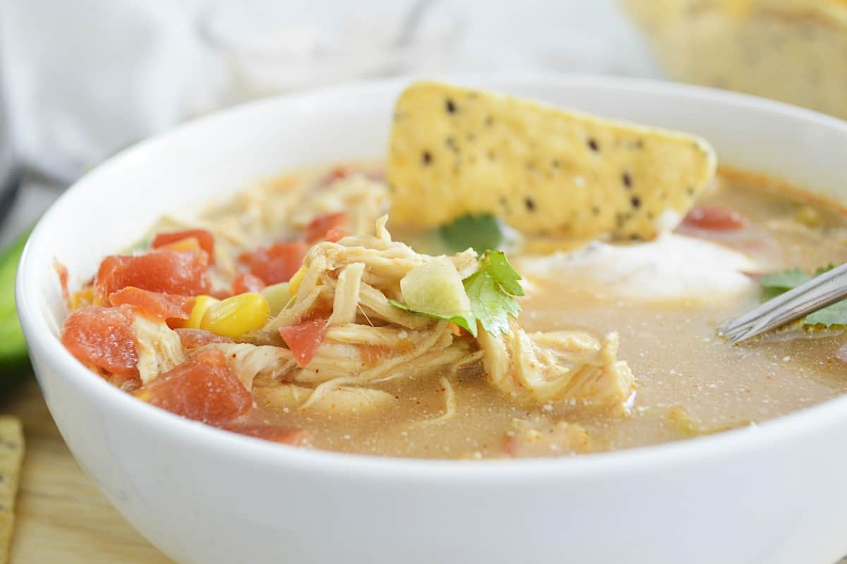 Close-up of a white bowl of chicken tortilla soup with a spoon.