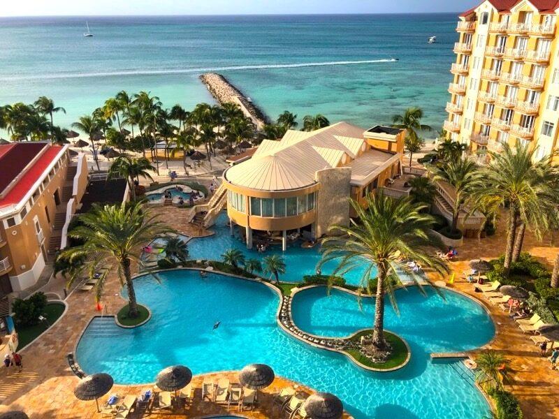 View of swimming pool at Divi Aruba Phoenix Beach Resort in the Dutch Caribbean.
