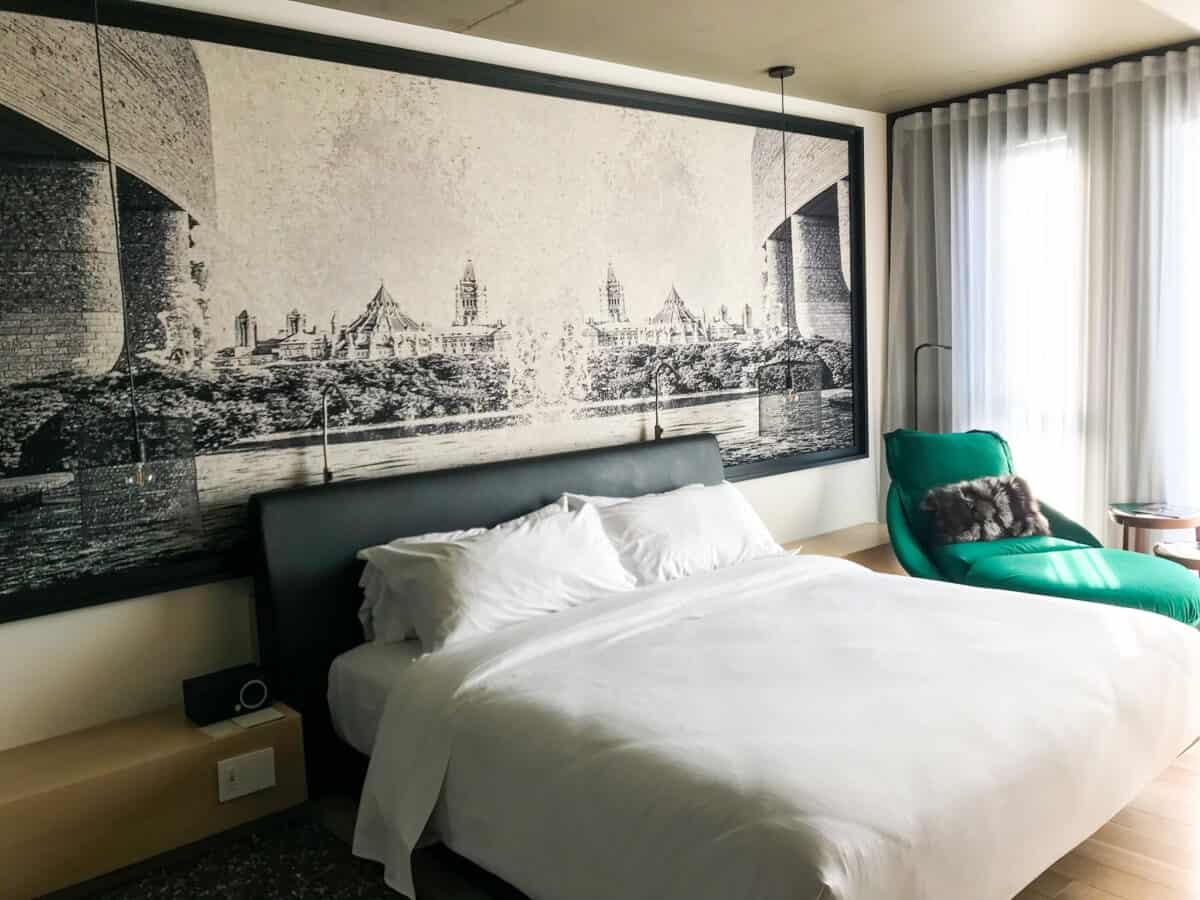 Stylish room at the ALT Hotel Ottawa.