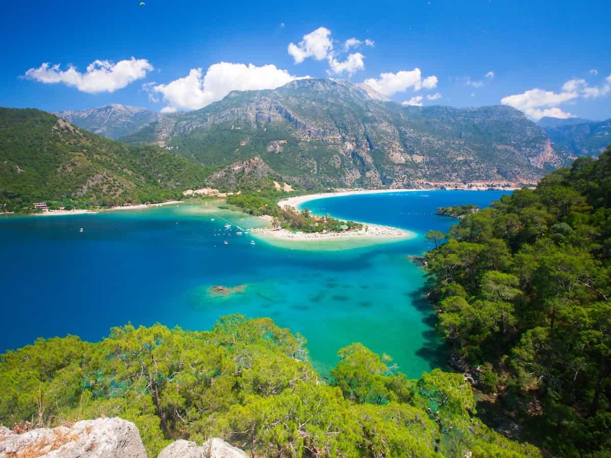 Scenic view of Blue lagoon in Oludeniz, Turkey