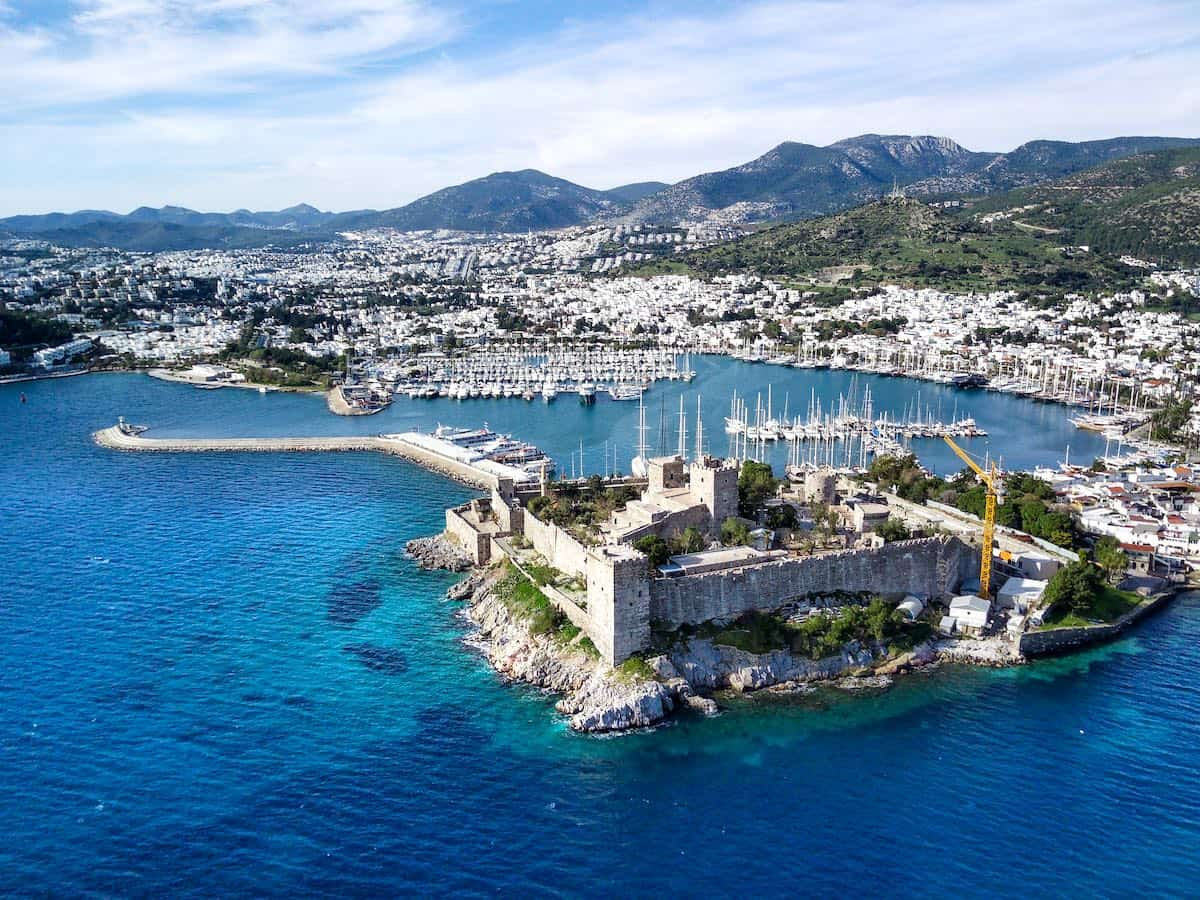 Aerial view of Bodrum Castle a top attraction in Bodrum.